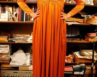 1070's orange and gold vintage dress