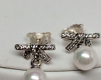 Pandora Pearls and Bows Earrings