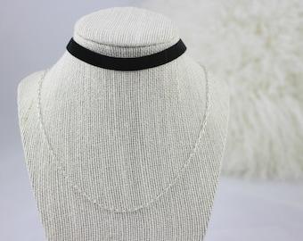 Velvet Choker & Silver Chain Necklace