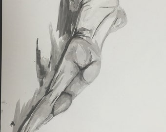 Naked man in ink 18x24