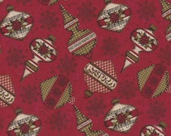 Christmas Wishes - Per Yd - Clothworks - Ornaments on Red