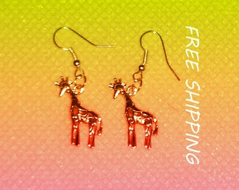 dangle earrings, metal giraffes dangle earrings