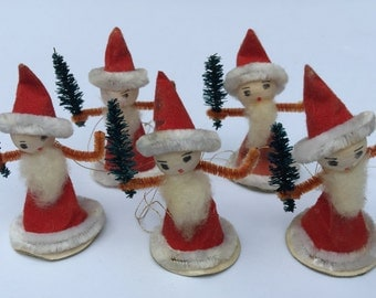 5 Vintage Cotton/Pipecleaner/Chenille Santa Claus Christmas Tree Ornaments. Hand Painted. Japan