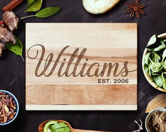 Housewarming Gift Personalized Family Name Cutting Board in Wood, Last Name, Laser Engraved