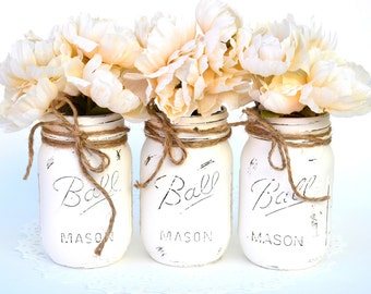 Painted Mason Jars, White Mason Jars, Bulk Mason Jars, Wedding Jars, Jar Centerpieces, Chic Centerpieces, Chic Bottle Decor, Mason Jar Decor