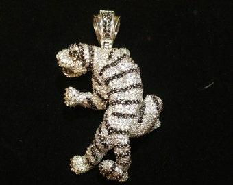 Vintage Designer Sterling Silver Zircon Large Tiger Pendant