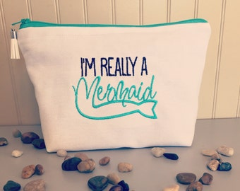 Im really a mermaid, customize, cosmetic bag, makeup bag, zipper pouch, multipurpose pouch, clutch, canvas, gift ideas, travel bag, funny