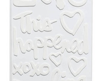Amy Tangerine --  Today Phrases - White Foam Thickers //  Finders Keepers // Card Making // Scrapbook Stickers // American Crafts 340234