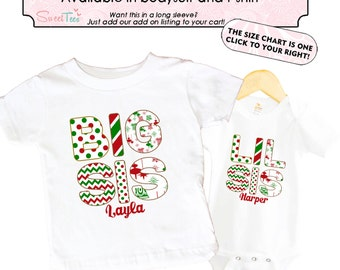 Big sister Christmas Shirt SET Little sister Sibling Personalized Big Sister Big Brother Shirts bodysuit SET