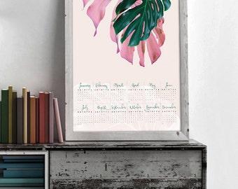 Large Calendar, Instant Download Printable Calendar 2017, Botanical Calendar, Wall Calendar 2017, Yearly Large Calendar, Yearly Calendar