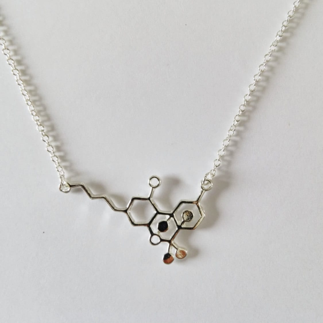 silver thc molecule necklace delicate chain by