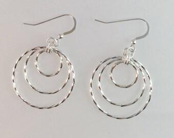 Sterling Silver Twisted Triple Hoop Earrings, Dangle Circle Earrings