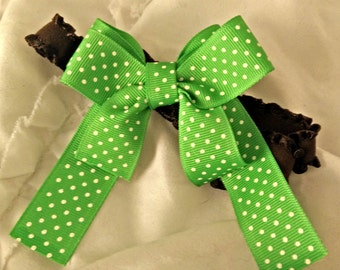 Green Bow on Brown Band