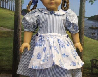 Blue Skies Stripes and Floral Doll Dress