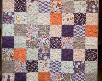 Organic Baby Quilt, Modern baby quilt, Baby Bedding, Elizabeth Olwen, Morning Song, Crib Quilt, Modern Baby Girl Quilt, Modern Baby Blanket,