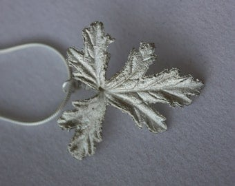 Geranium Leaf Pendant in Fine Silver (.999) on a Chain Necklace