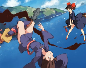 kiki's delivery service x little witch academia original anime art print