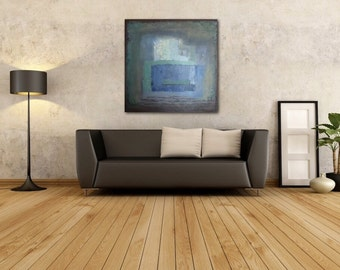 """ABSTRACT PAINTING, Acrylic Art Painting, Modern Art, Title: """"Blue Composition"""""""