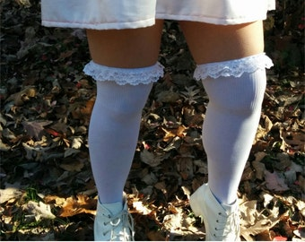 White Lace Thigh High Removable Frillies