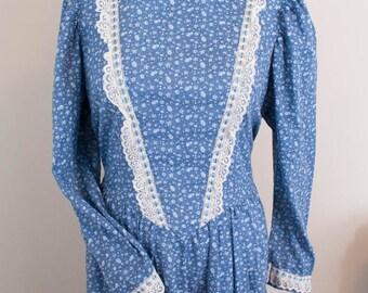 1970s Edwardian Style Dress - XL / 1X / 2X - Edwardian Dress - 70s Dress - Vintage Maxi Dress - High Collar - Lace Dress - Plus Size Dress
