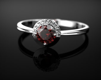 Garnet Engagement Ring Sterling Silver Garnet Ring Red Gemstone Engagement Ring Silver Garnet Ring January Birthstone