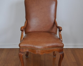 Baker Furniture Nailhead Trim Brown Leather Chair