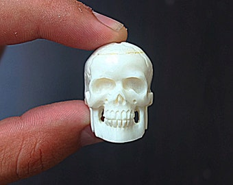 Human Skull Pendant Bone Carving, Gothic Pendant, Skull Accessory, Skull Necklace, Bone Jewelry