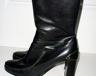 Cole Haan Black Leather  Ankle Boots / Side Zip  Size 9.5m