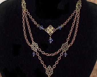 Retro Victorian watch necklace purple Crystal Swarovski chain elements copper bronze Victorian Necklace watch for