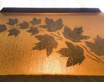 Mid Century Maple Leaf Reverse Stencilled Galvinised Tray