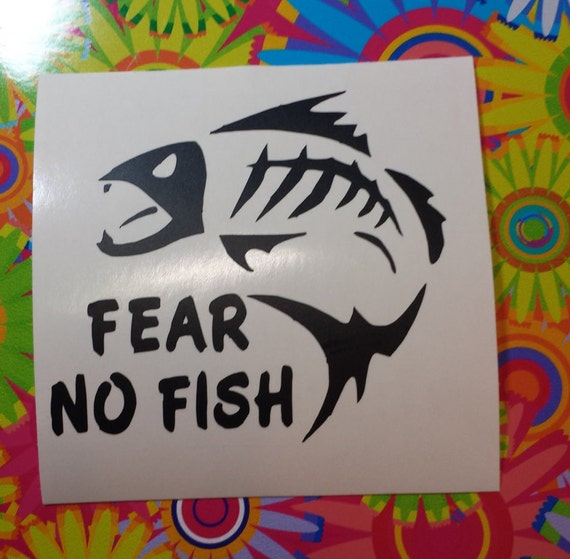 Fear no fish vinyl decal fishing coffee mug yeti by atimetocut for Fear no fish