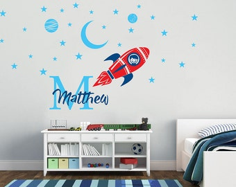 Space, Rocket Ship  Personalized Name, Custom  Initial Vinyl Wall Decal Sticker for Nursery, Boy's Room or Playroom