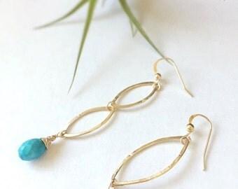 Turquoise/ Hammered Hoops Earrings