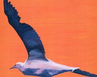 Gliding home; seagull art print from an original acrylic painting on reclaimed wood,Cornwall,orange,blue,purple,white,