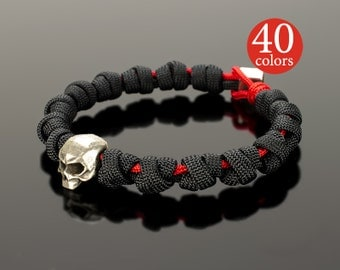 Skull Bracelet - Black skull hand bracelet with big 15 mm skull. For a truly brutal men, 400 possible color combinations!