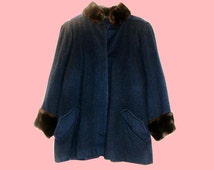 Vintage Faux Fur Navy Blue Brown A-line Wool Coat, Victorian style, Extra pockets, Pleated, Large, 60's, Mod,