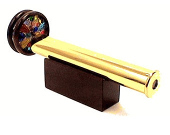 N&J Brass Two Wheel Kaleidoscope with stand in Gleaming Brass!