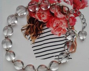 Dewdrops. Natural clear quartz bracelet. Handmade. Classical gift for Her.