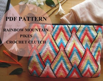 Rainbow Mountain Pikes Crochet Clutch Pattern / Tapestry Crochet Bag Pattern / Modern Crochet Bag Pattern /Geometric Design Pattern / wayuu