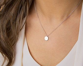 silver circle necklace, simple silver necklace, delicate, dainty, tiny sterling silver, personalized disc pendant, layering • NDV9