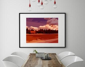 "Modern Wall Art, Mid Century Modern Art Print, Abstract Landscape Print, Red Barn Art, Farm Art, Red Purple Art, Colorful Art,""Red Barn Rd"""