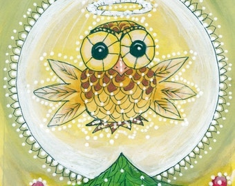 Christmas Owl Angel Greeting Card