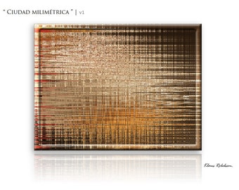 City Abstract Painting, Canvas Wall Art 'Millimetric city' by Klaus Robebsen