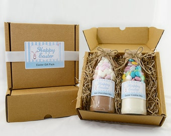 Easter gift pack, Easter gift, Easter chocolate,  Cookie mix and Hot chocolate mix in a gift pack. Makes 6 cookies and 2 hot chocolates