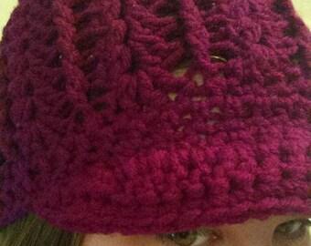 Shell Stitch Crochet Beanie With Bill
