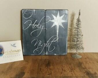 Christmas decor - Oh Holy Night - Christmas wood sign - Christmas Hymn - Religious decor - Christmas in July - Christmas decoration