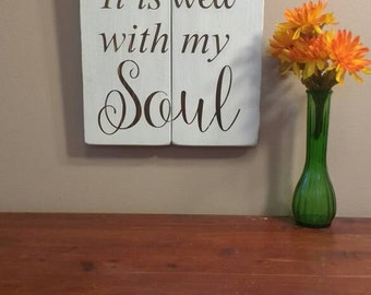 It Is Well With My Soul - Christian Wood Wall Art - Religious Home decor - Wooden Sign - Hymn - Christian Decor
