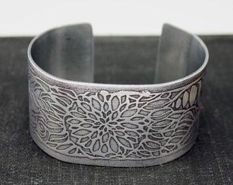 Etched Cuff Bracelet, Art Jewelry, Original Art, Beach Jewelry