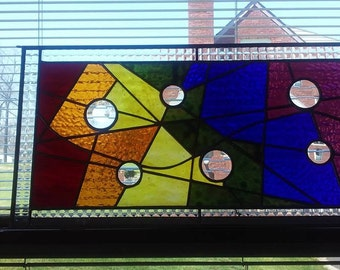 Abstract Geometric Stained Glass Panel