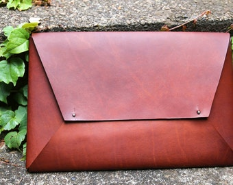 Leather Laptop Sleeve / Cover / Envelope - Suits 15 Inch Laptop / Macbook
